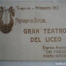 Libretos de ópera: ÓPERA. GRAN TEATRO DEL LICEO. TEMPORADA 1913. AIDA DE VERDI. Lote 154983214