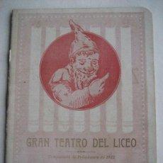 Libretos de ópera: ÓPERA. GRAN TEATRO DEL LICEO. TEMPORADA 1912. LUCIA DE LAMMERMOOR DE DONIZETTI. Lote 154984566