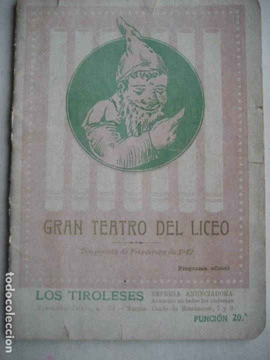 ÓPERA. GRAN TEATRO DEL LICEO. TEMPORADA 1912. CARMEN DE BIZET (Música - Libretos de Opera)
