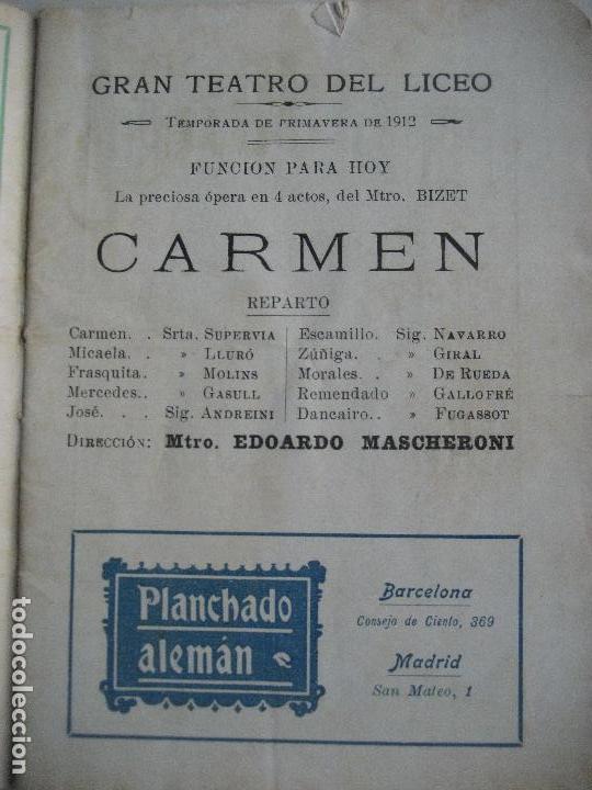 Libretos de ópera: Ópera. Gran Teatro del Liceo. Temporada 1912. Carmen de Bizet - Foto 2 - 154984794