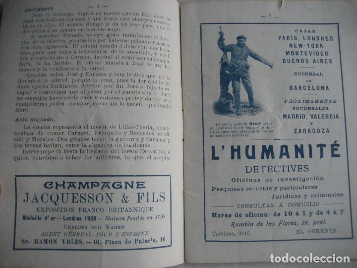 Libretos de ópera: Ópera. Gran Teatro del Liceo. Temporada 1912. Carmen de Bizet - Foto 3 - 154984794