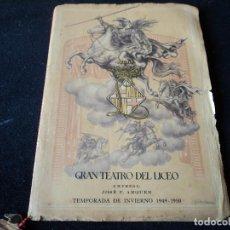 Livrets d'opéra: GRAN TEATRO DEL LICEO 1949 SANSON Y DALILA PUBLICIDAD COLONIA GONG. Lote 159753506