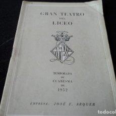 Livrets d'opéra: GRAN TEATRO DEL LICEO 1952 HOMENAJE A JOAQUIN RODRIGO, GUITARRA NARCISO YEPES. Lote 159754846