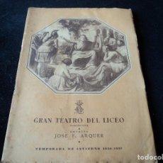 Libretos de ópera: GRAN TEATRO DEL LICEO 1950 ORFEO. Lote 159755630