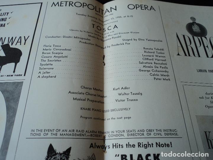 Libretos de ópera: METROPOLITAN OPERA NEW YORK TOSCA RENATA TEBALDI 1955 - Foto 10 - 159757882