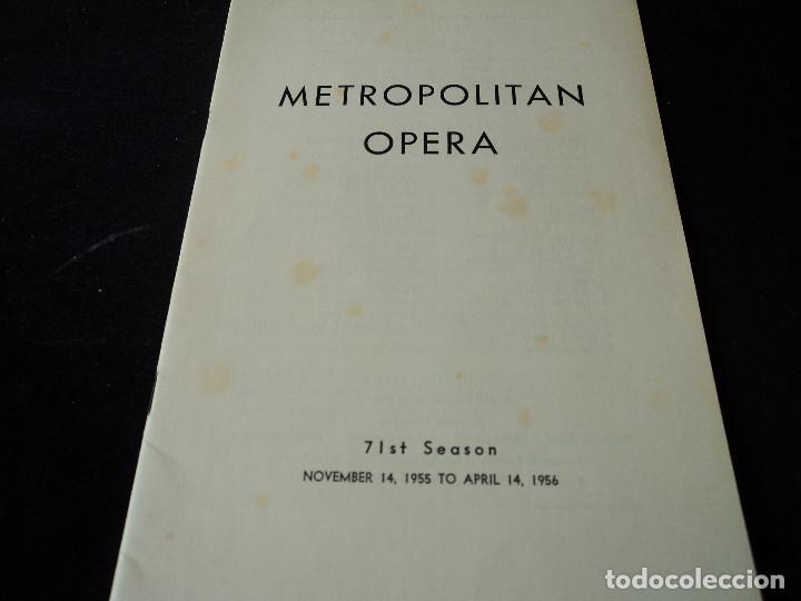 METROPOLITAN OPERA NEW YORK PROGAMA DE ACTIVIDADES 1956 (Música - Libretos de Opera)