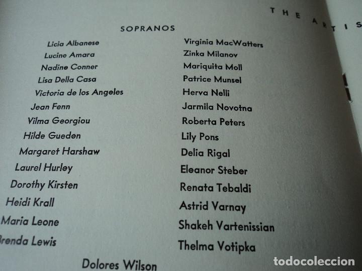 Libretos de ópera: METROPOLITAN OPERA NEW YORK PROGAMA DE ACTIVIDADES 1956 - Foto 4 - 159758090