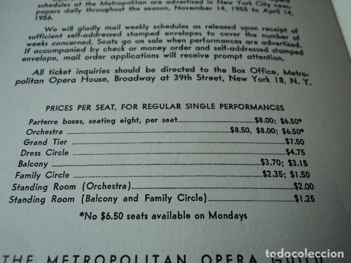 Libretos de ópera: METROPOLITAN OPERA NEW YORK PROGAMA DE ACTIVIDADES 1956 - Foto 10 - 159758090