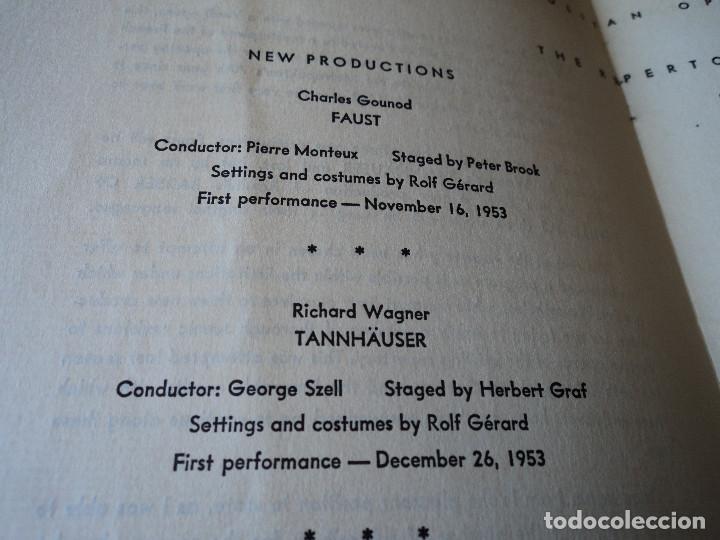 Libretos de ópera: METROPOLITAN OPERA NEW YORK PROGAMA DE ACTIVIDADES 1954 - Foto 4 - 159758546