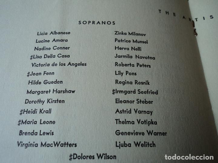 Libretos de ópera: METROPOLITAN OPERA NEW YORK PROGAMA DE ACTIVIDADES 1954 - Foto 8 - 159758546