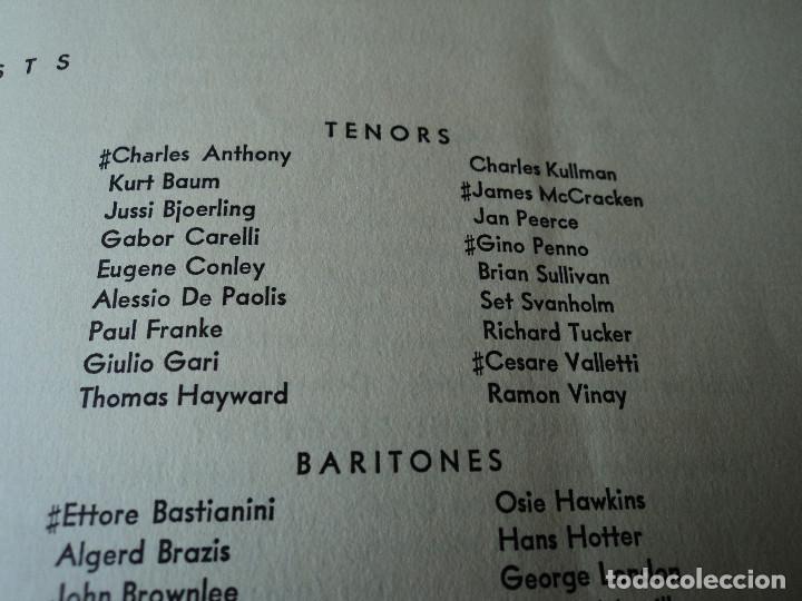 Libretos de ópera: METROPOLITAN OPERA NEW YORK PROGAMA DE ACTIVIDADES 1954 - Foto 10 - 159758546