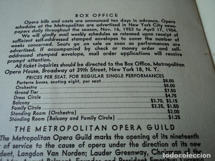 Libretos de ópera: METROPOLITAN OPERA NEW YORK PROGAMA DE ACTIVIDADES 1954 - Foto 12 - 159758546