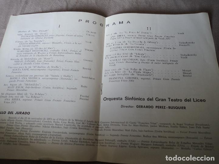 Libretos de ópera: GRAN TEATRO LICEO XII CONCURSO INTERNACIONAL DE CANTO FRANCISCO VIÑAS 1972 - Foto 2 - 163727730