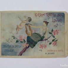 Libretos de ópera: PR-1150 GRAN TEATRO DEL LICEO, COMPAÑIA DE OPERA ITALIANA.. Lote 164097026