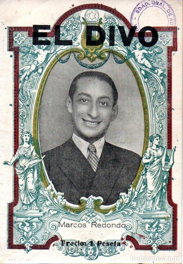 Libretos de ópera: ZARZUELA EL DIVO - MARCOS REDONDO (1942) - Foto 2 - 167496656