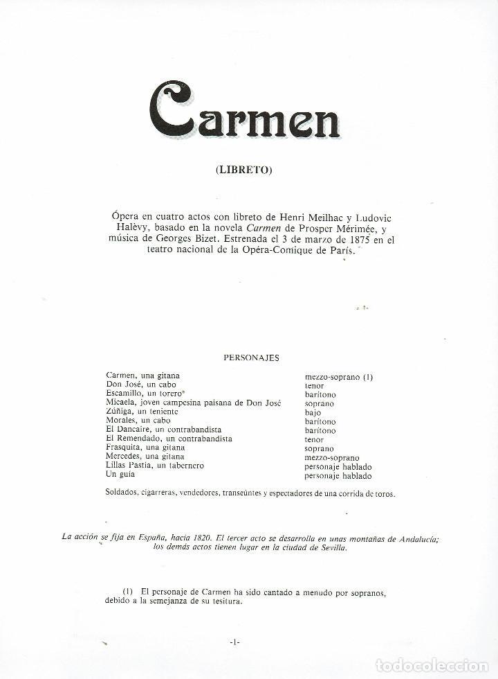 Libretos de ópera: Carmen. Libreto. Texto original y traducción al español. v - Foto 2 - 169115756