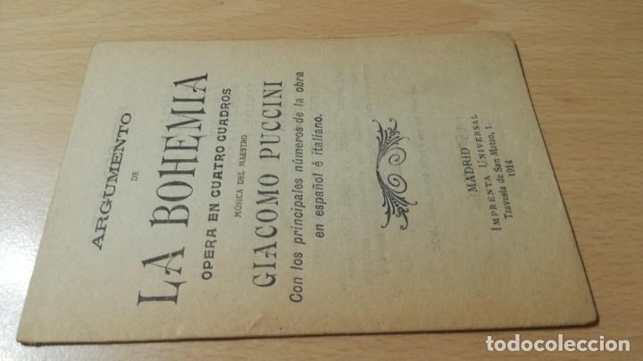 ARGUMENTO DE LA BOHEMIA/ GIACOMO PUCCINI/ 1914/ / H302 (Música - Libretos de Opera)