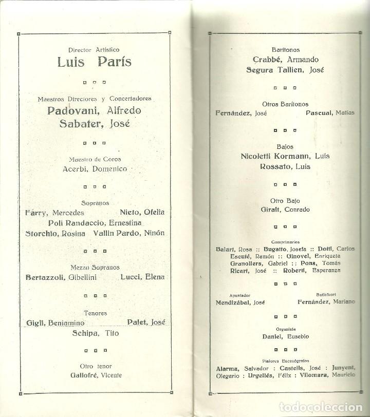 Libretos de ópera: 3835.- GRAN TEATRO DEL LICEO - EMPRESA ALFREDO VOLPINI- LISTA OFICIAL DE LA COMPAÑIA TEMPORADA 1917 - Foto 4 - 144075674