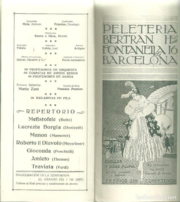 Libretos de ópera: 3835.- GRAN TEATRO DEL LICEO - EMPRESA ALFREDO VOLPINI- LISTA OFICIAL DE LA COMPAÑIA TEMPORADA 1917 - Foto 5 - 144075674