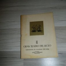 Libretos de ópera: ADRIANA LECOUVREUR GRAN TEATRO LICEO BARCELONA 1957/58. Lote 171604044