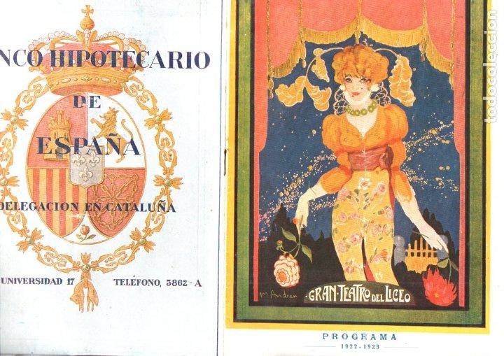 PROGRAMA OPERA MONA LISA DE MAX SCHILLIGS LICEO 1922 (Música - Libretos de Opera)