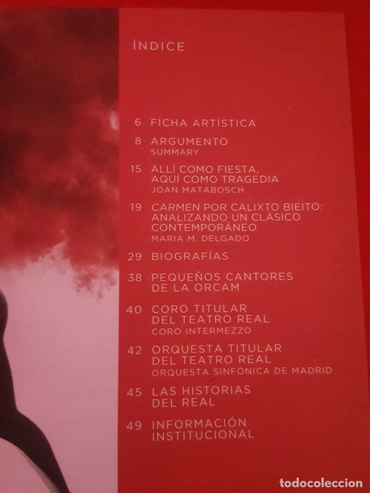 Libretos de ópera: CARMEN. GEORGE BIZET. LIBRETO DEL TEATRO REAL. EN BUEN ESTADO. - Foto 2 - 177885230