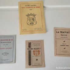 Libretos de ópera: TEATRO MADRID. GRAN TEMPORADA DE ÓPERA 1944. PROGRAMA DE MANO + LIBRETOS ARGUMENTOS: LA TRAVIATA,.... Lote 181800517