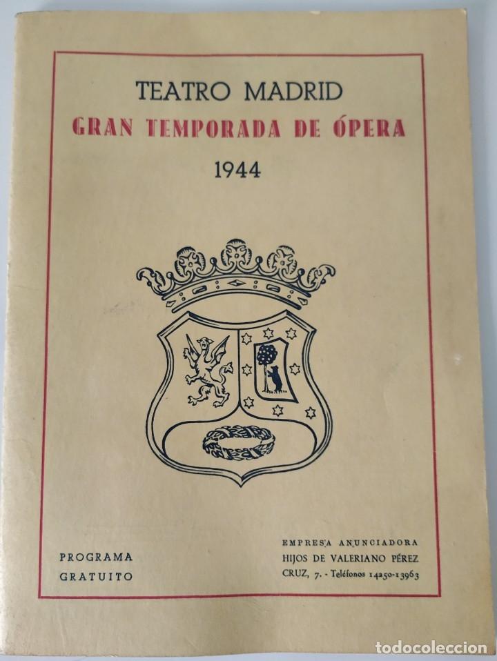 Libretos de ópera: Teatro Madrid. Gran temporada de ópera 1944. Programa de mano + libretos argumentos: La traviata,... - Foto 3 - 181800517