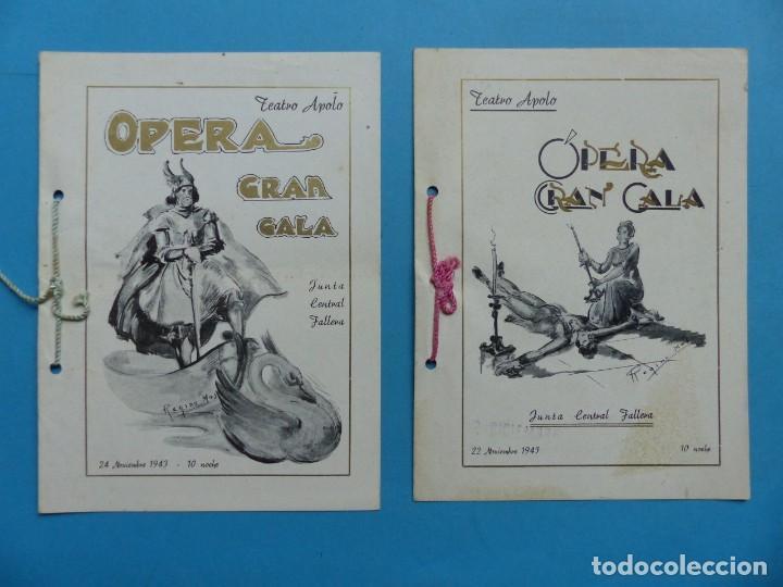 VALENCIA - 2 LIBRETOS OPERA GRAN GALA, TEATRO APOLO, JUNTA CENTRAL FALLERA - AÑO 1943 (Música - Libretos de Opera)
