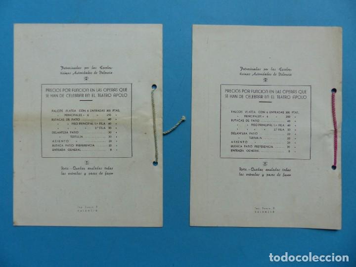 Libretos de ópera: VALENCIA - 2 LIBRETOS OPERA GRAN GALA, TEATRO APOLO, JUNTA CENTRAL FALLERA - AÑO 1943 - Foto 4 - 189572411