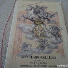 Libretos de ópera: PROGRAMA GRAN TEATRO DEL LICEO OPERA TRISTAN E ISOLDA 1949 COLONIA VARON DANDI. Lote 189987357