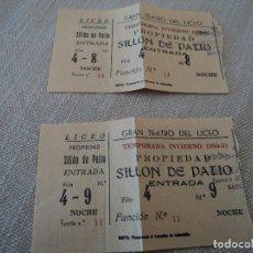 Libretos de ópera: DOS ENTRADAS GRAN TEATRO DEL LICEO 1950 . Lote 189987466