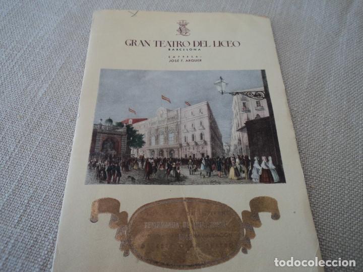 PROGRAMA GRAN TEATRO DEL LICEO TEMPORADA DE CUARESMA TITO SCHIPA 1948 (Música - Libretos de Opera)