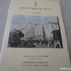 Libretos de ópera: PROGRAMA GRAN TEATRO DEL LICEO OPERA NORMA 1947. Lote 190001491