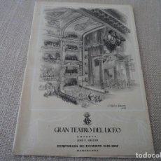 Libretos de ópera: PROGRAMA GRAN TEATRO DEL LICEO OPERA LOHENGRIN VICTORIA DE LOS ANGELES 1948. Lote 190006057