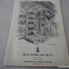 Libretos de ópera: PROGRAMA GRAN TEATRO DEL LICEO OPERA TRISTAN E ISOLDA 1949. Lote 190006316