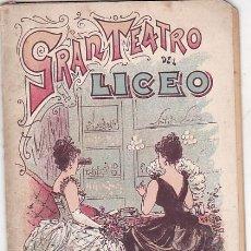 Libretos de ópera: PROGRAMA TEATRO DEL LICEO COMPAÑIA DE OPERA ITALIANA 1900-1901. Lote 191440072