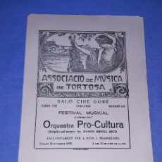 Livrets d'opéra: DIPTICO ASSOCIACIO DE MUSICA DE TORTOSA ORIGINAL NOVIEMBRE AÑO 1932 EN MUY BUEN ESTADO. Lote 191440348
