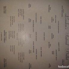 Libretos de ópera: PROGRAMA LONDON FESTIVAL BALLET 1958. ORQUESTA FILARMÓNICA DE LONDRES.. Lote 192639096