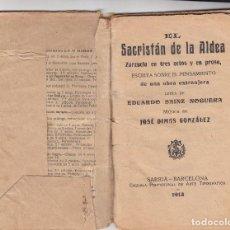 Livrets d'opéra: EL SACRISTAN DE LA ALDEA - LIBRETO ZARZUELA 3 ACTOS AÑO 1913 VER DESCRIPCION. Lote 195802448