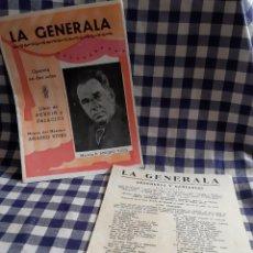 Libretos de ópera: OPERETA EN DOS ACTOS LA GENERALA MAESTRO D. AMADEO VIVES. Lote 197192143