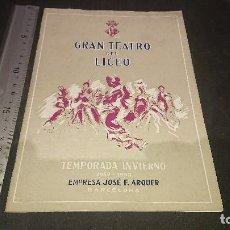Libretos de ópera: PROGRAMA GRAN TEATRO LICEO TEMPORADA OPERA 1952 1953, LEER DESCRIPCION. Lote 197261763