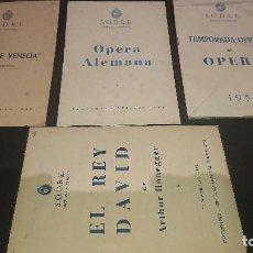 Libretos de ópera: LOTE DE 4 PROGRAMAS - S.O.D.R.E ESTUDIO AUDITORIO , LEER DESCRIPCION. Lote 197262083