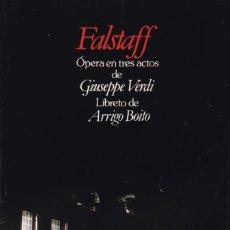 Libretos de ópera: GIUSEPPE VERDI - FALSTAFF - LIBRETO EDICIÓN BILINGÜE. Lote 199704902