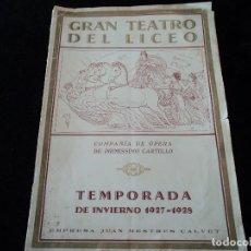 Libretos de ópera: GRAN TEATRO DEL LICEO PRESENTACION TEMPORADA 1927/28 ELENCO DE TENORES, SOPRANOS..ETC. Lote 202423246