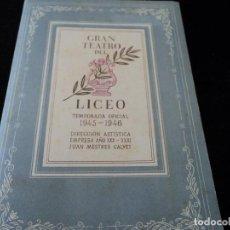 Libretos de ópera: GRAN TEATRO DEL LICEO OPERA MANON VICTORIA DE LOS ANGELES 1946. Lote 202428418