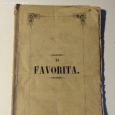 Libretos de ópera: LIBRETO DEL ESTRENO DE LA FAVORITA , DONIZETTI. TEATRO PRINCIPALE DI BARCELLONA. 1846.. Lote 205434098