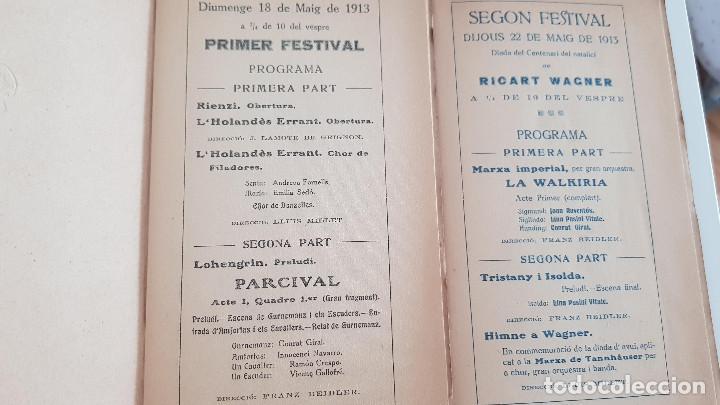 Libretos de ópera: PROGRAMA CENTENARI DE RICART WAGNER. PRIMER FESTIVAL Y SEGÓN FESTIVAL. 1913 - Foto 2 - 206178452