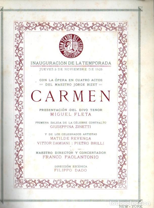 PROGRAMA GRAN TEATRO DEL LICEO TEMPORADA 1925 : CARMEN - CON 66 FOTOGRAFÍAS DE ARTISTAS (Música - Libretos de Opera)