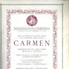 Libretos de ópera: PROGRAMA GRAN TEATRO DEL LICEO TEMPORADA 1925 : CARMEN - CON 66 FOTOGRAFÍAS DE ARTISTAS. Lote 212287413